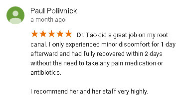 Dr. Liwen Tao Google Reviews